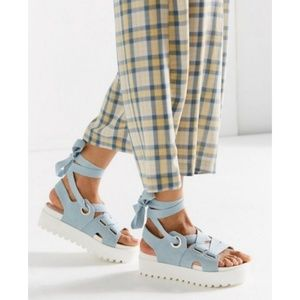 Urban outfitters denim lace platform sandals